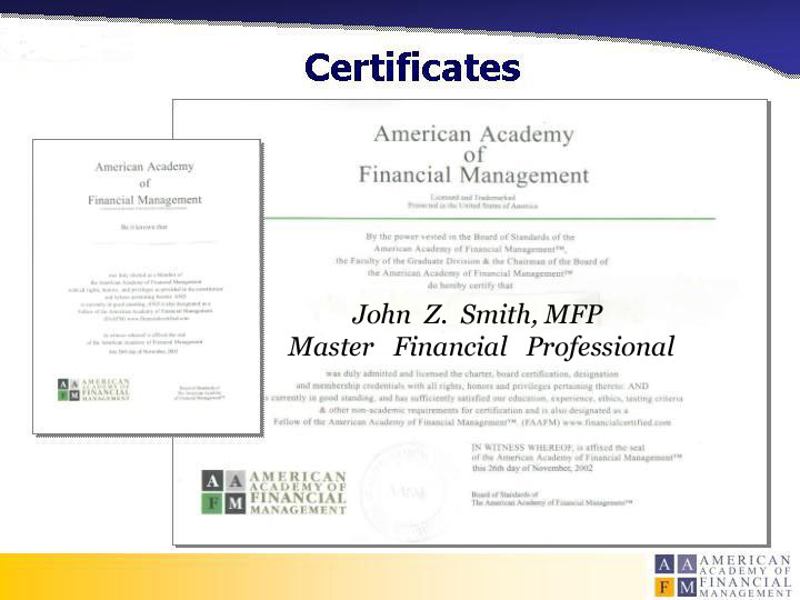 Aafm Board Certified Financial Analyst Designate Fad American